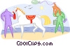 Vector Clipart graphic  of a Getting ready to ride a horse