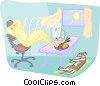 Vector Clip Art graphic  of a relaxing on a hot day with an
