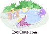 swimming in an outdoor pool Vector Clipart graphic