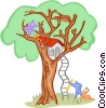 Vector Clip Art graphic  of a building a tree house