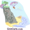 People jumping off a cliff with parachutes Vector Clip Art picture