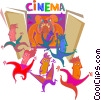 Vector Clipart illustration  of an Audience scared out of theater