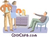 Vector Clipart graphic  of a Hairdresser fixing actor hat