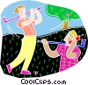 Vector Clip Art image  of a Guy on phone during golf game