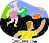 Vector Clip Art picture  of a Kids playing Frisbee
