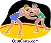 Vector Clip Art image  of a Wresting