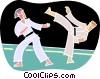 Martial artists sparring Vector Clipart graphic