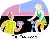 Vector Clip Art graphic  of a Exercising at the gym