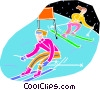 Vector Clip Art graphic  of a Downhill skiers in a race