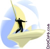 Vector Clip Art graphic  of a man sailing through space on a