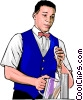 Vector Clip Art graphic  of a Bartender