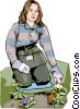 Woman gardening Vector Clip Art picture