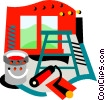 Vector Clip Art image  of a Painting equipment