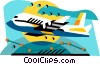Vector Clip Art image  of an Airplane international flight
