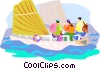 Vector Clip Art image  of a Sailing