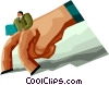 Vector Clip Art image  of a man walking with hand