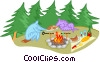 camping, cooking a meal on a campfire Vector Clip Art picture