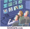 Control room-TV production studio Vector Clipart illustration