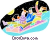 Vector Clipart illustration  of a Family sledding