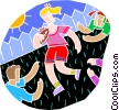 football, young children playing football Vector Clip Art image