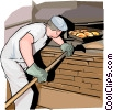 Baker taking bread from oven Vector Clipart illustration