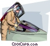 Fighter Pilot Vector Clipart graphic