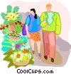 Couple walking past a flower stand Vector Clipart illustration