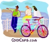 Vector Clipart image  of a cyclists traveling and