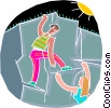 Vector Clipart illustration  of a Rock climbing