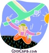 parachutist diving out of a plane Vector Clipart picture