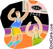 Basketball players fighting for ball Vector Clipart illustration