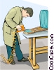 Furniture repair technician working on a chair Vector Clip Art graphic