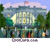 Protest outside White House Vector Clipart illustration