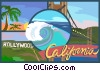 California postcard design Vector Clipart picture