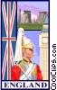 England postcard design Vector Clipart illustration