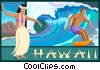 Vector Clip Art graphic  of a Hawaii postcard design
