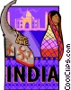 Vector Clip Art image  of a India postcard design