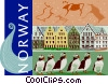 Vector Clip Art graphic  of a Norway postcard design