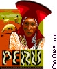 Peru postcard design Vector Clipart illustration