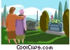 Vector Clipart illustration  of a visiting a grave