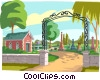 Vector Clip Art picture  of a cemetery