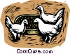 farm scene, chickens Vector Clipart graphic