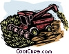 Vector Clipart picture  of a farm scene combine