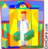 Vector Clipart illustration  of a hotel bellman