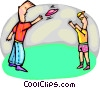 Vector Clipart graphic  of a tossing a Frisbee