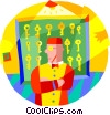 hotel worker with room keys Vector Clip Art image