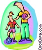 Father and son, playing soccer Vector Clipart illustration