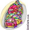 traffic congestion Vector Clipart graphic