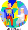 Vector Clip Art image  of a x-ray technician with patient