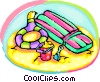 Vector Clipart graphic  of a beach toys